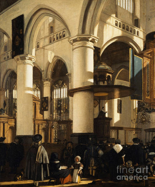 Wall Art - Painting - The Old Church, Delft, With Churchgoers Listening To A Sermon by Emanuel de Witte