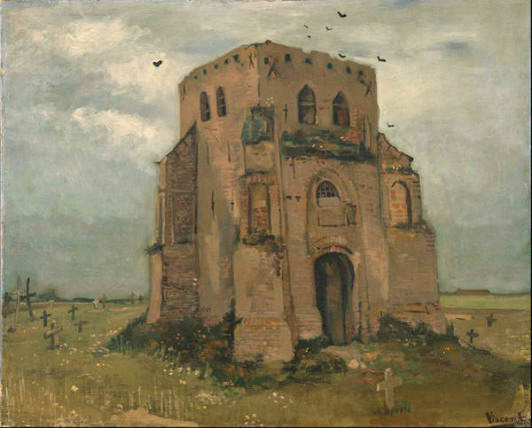 Wall Art - Painting - The Old Church Tower At Nuenen The Peasants Churchyard May 1885 - June 1885 by Vincent Van Gogh