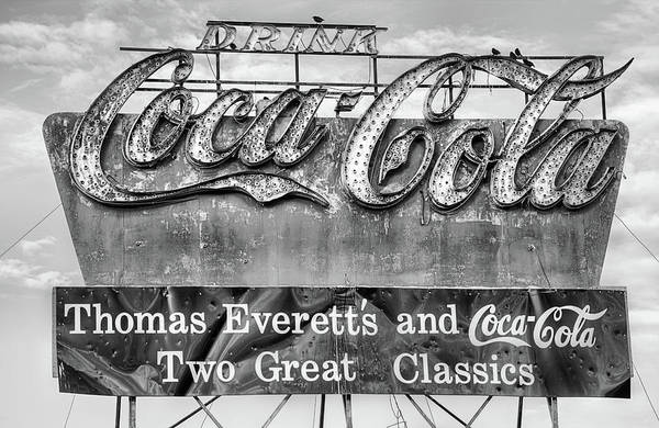Photograph - The Old Coke Sign In Black And White by JC Findley