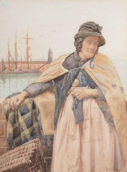 Newlyn Painting - The Old Cornish Fisherwoman At Newlyn by Ralph Todd