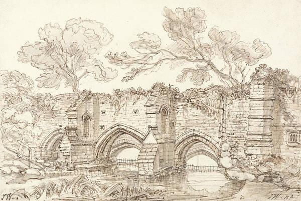 Bury St Edmunds Drawing - The Old Double Bridge, Bury St. Edmunds by James Ward