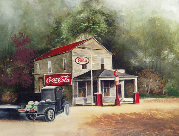 Coca Cola Painting - The Old Esso Station by Charles Roy Smith