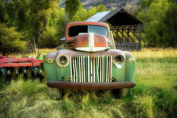 Photograph - The Old Farm Truck - 1945 Ford Flatbed by TL Mair
