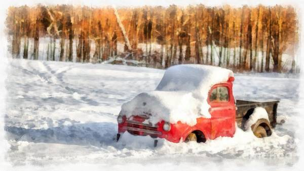 Truck Digital Art - The Old Farm Truck In The Snow by Edward Fielding