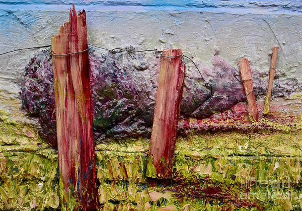 Recycling Painting - The Old Fence Post by Debi Bond