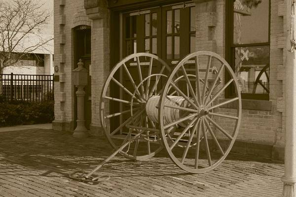 Photograph - The Old Fire House Sepia by David Dunham