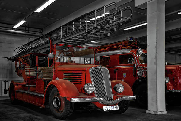 Ladders Photograph - The Old Fire Trucks by Joachim G Pinkawa