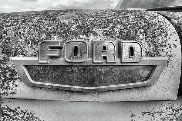 Photograph - The Old Ford Emblem In Black And White by JC Findley