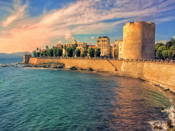 Painting - The Old Fortress At Alghero by Dominic Piperata