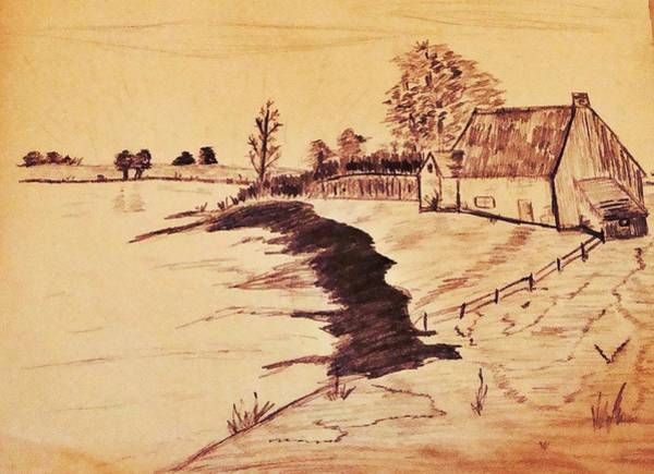Homestead Drawing - The Old Homestaed by Stacie Siemsen