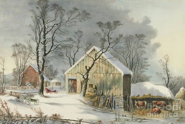 Farmstead Painting - The Old Homestead In Winter, 1864  by George Henry Durrie