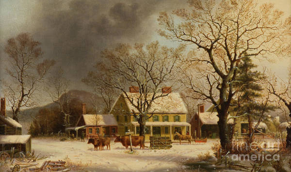Barn Snow Painting - The Old Inn  Ten Miles To Salem by George Henry Durrie