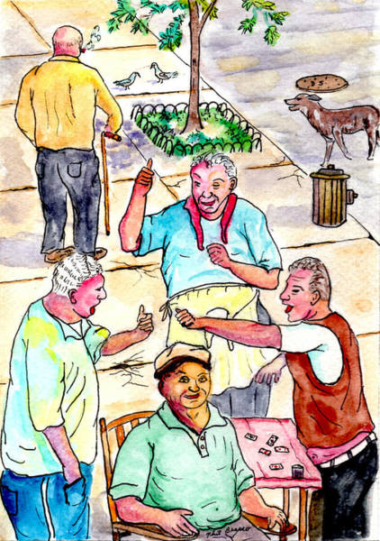 The Old Italian Men Up The Block Art Print