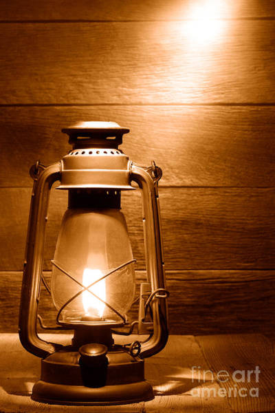 Oil Lamp Photograph - The Old Lamp - Sepia by Olivier Le Queinec