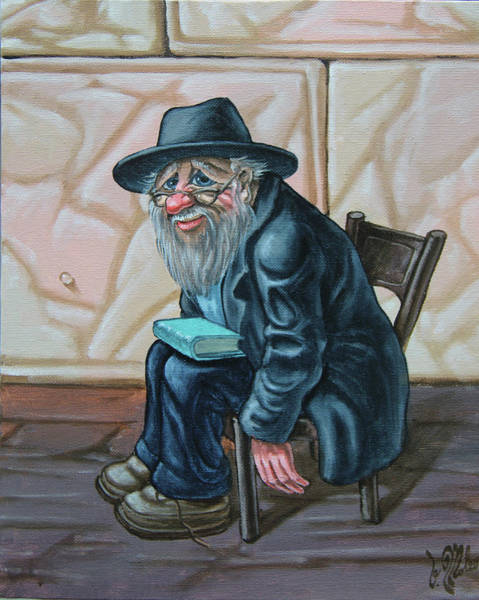 Painting - The Old Man Near The Western Wall by Victor Molev