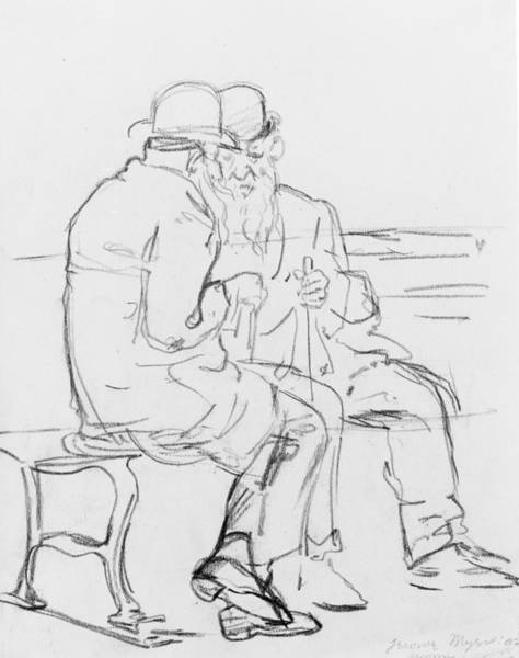 20th Century Man Drawing - The Old Men by Jerome Myers