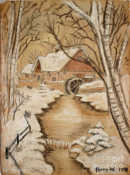 Ohio River Drawing - The Old Mill By George Perry Wood 1941 by Karen Adams