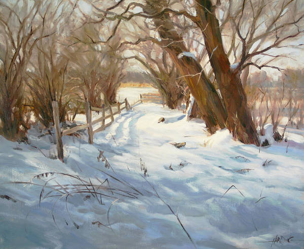 Fencepost Painting - The Old Path by Scott Harding