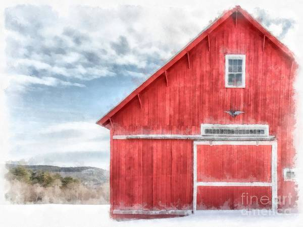 Barn Snow Painting - The Old Red Barn Newport New Hampshire Watercolor by Edward Fielding