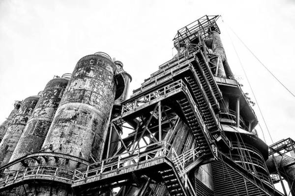 Photograph - The Old Steel Mill - Bethlehem Pa In Black And White by Bill Cannon