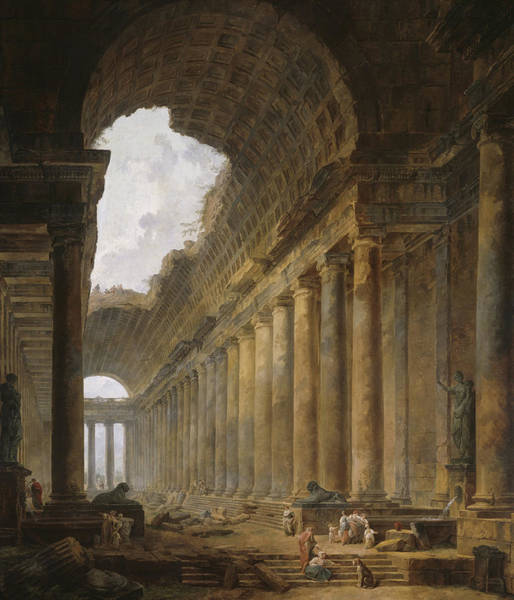 Portico Painting - The Old Temple by Hubert Robert