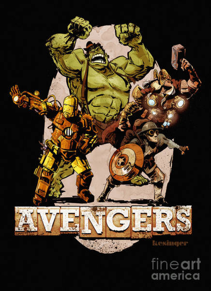 Marvel Wall Art - Digital Art - The Old Time-y Avengers by Brian Kesinger
