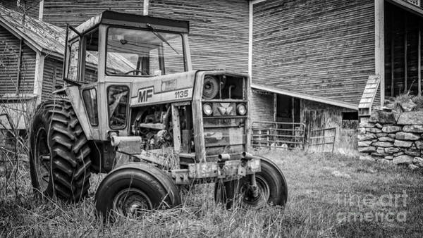 New England Barn Photograph - The Old Tractor By The Old Round Barn by Edward Fielding