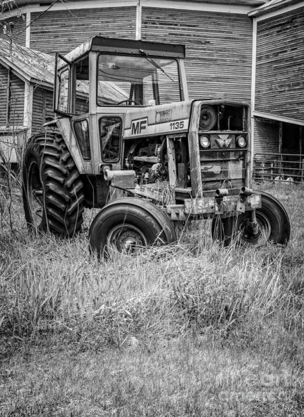 New England Barn Photograph - The Old Tractor By The Old Round Barn II by Edward Fielding