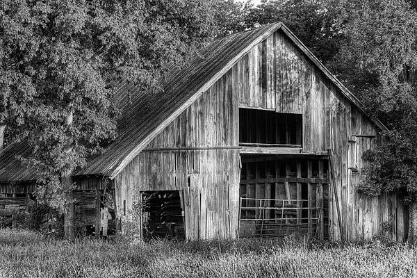 Photograph - The Old Wooden Barn In Denton Black And White by JC Findley