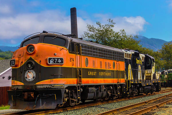 Oregon Coast Photograph - The Orange Great Northern Railway by Garry Gay