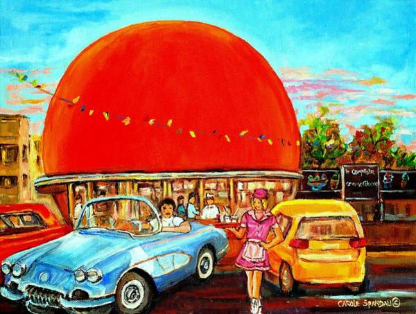 Montreal Street Scene Painting - The Orange Julep Montreal by Carole Spandau