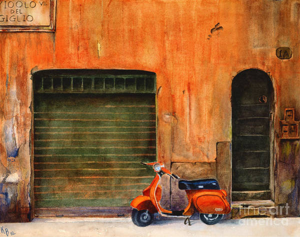 Painting - The Orange Vespa by Karen Fleschler