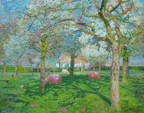Painting - The Orchard In The Spring by Emile Claus