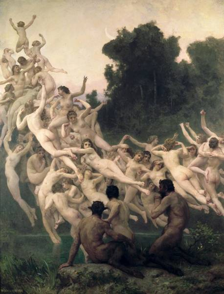Greek Myths Wall Art - Painting - The Oreads by William-Adolphe Bouguereau