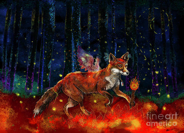 Woodland Animals Mixed Media - The Origin Of Fire by Francesca Rizzato