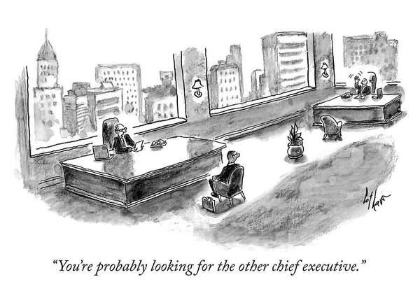 Interview Drawing - The Other Chief Executive by Frank Cotham