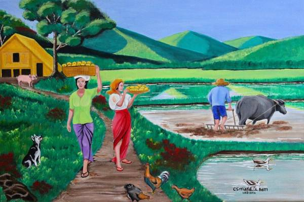Painting - The Other Side Of One Beautiful Morning In The Farm by Lorna Maza