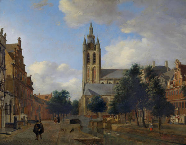 17th Century Wall Art - Painting - The Oude Delft Canal And The Oude Kerk, Delft by Jan van der Heyden