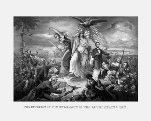 United States Drawing - The Outbreak Of The Rebellion In The United States by War Is Hell Store