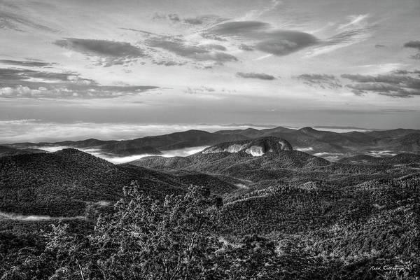 Photograph - The Outcrop Looking Glass Rock Sunrise Bw Blue Ridge Parkway Art by Reid Callaway