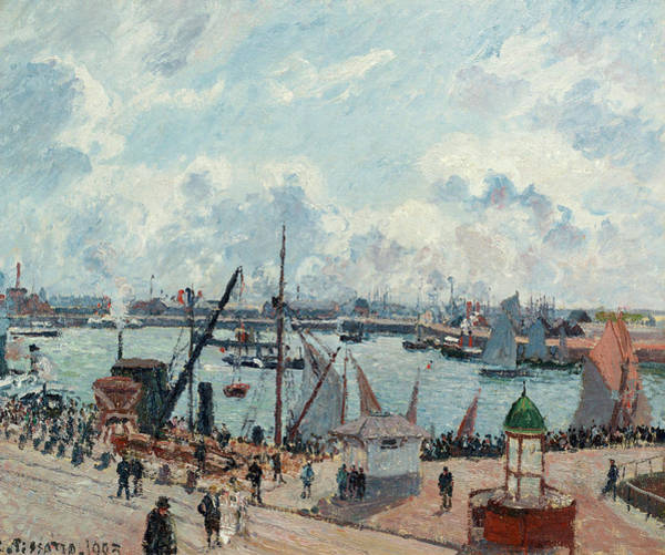Wall Art - Painting - The Outer Harbour Of Le Havre, Morning, Sun, Tide by Camille Pissarro