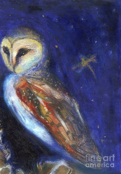 Owl Painting - The Owl And The Gold Leaf Dragonfly by Nancy Moniz Charalambous