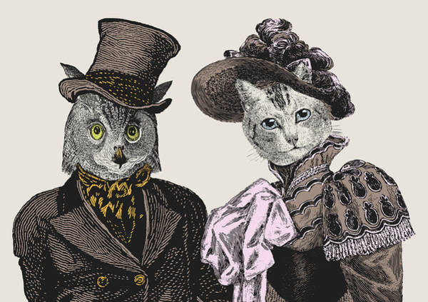 Wall Art - Digital Art - The Owl And The Pussycat by Eclectic at HeART