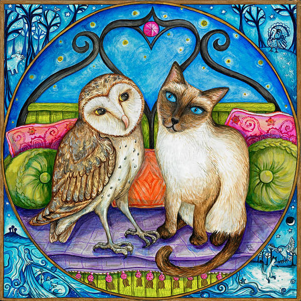 Barn Owl Painting - The Owl And The Pussycat by Joanna Dover