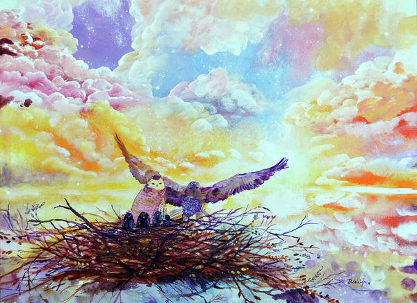 Mate For Life Painting - The Owl Couple by Ashleigh Dyan Bayer