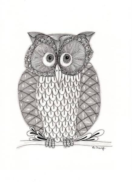 Owl Wall Art - Drawing - The Owl's Who by Paula Dickerhoff