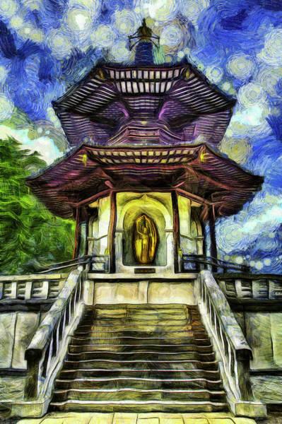 Wall Art - Mixed Media - The Pagoda Van Gogh by David Pyatt