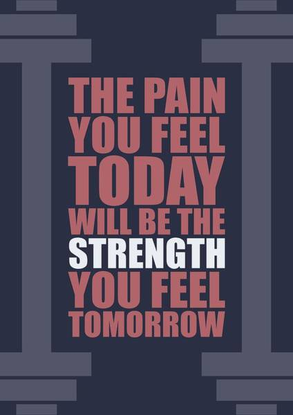 Wall Art - Digital Art - The Pain You Feel Today Will Be The Strength You Feel Tomorrow Gym Motivational Quotes Poster by Lab No 4
