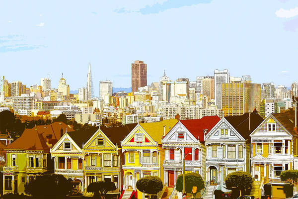 Digital Art - The Painted Ladies In San Francisco California by Anthony Murphy