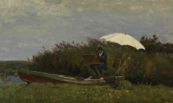 Gabriel Painting - The Painter Gabriel Working In A Boat by Willem Bastiaan Tholen